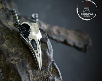 Silver raven skull pendant Odin, Viking necklace