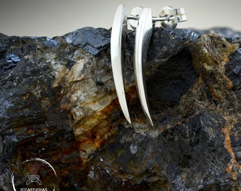 Silver needle earrings, Snake fangs earrings