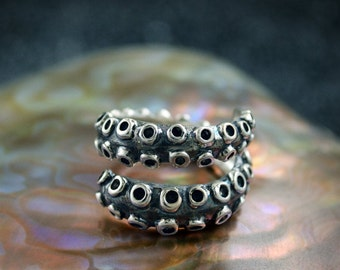 Silver tentacle octopus ring, Cool man ring, Ocean jewelry