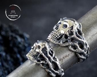 Custom order  silver skull wedding rings set, Matching couple rings