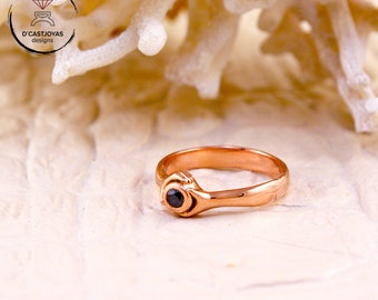 Gold Claddagh ring, 14k and 18k rose gold with black diamond ring set, Wedding ring