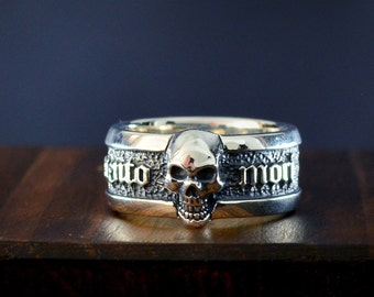 Memento Mori band ring with skull in solid Sterling silver