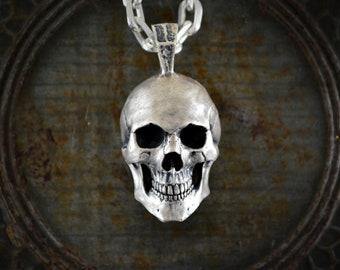 Large silver skull pendant, Biker skull, Memento Mori pendant
