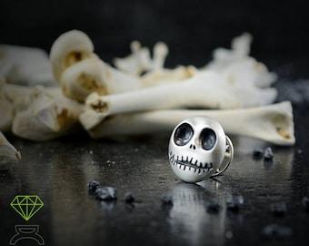 Jack Skellington silver pin, Sterling Skull brooch,Nightmare before Christmas