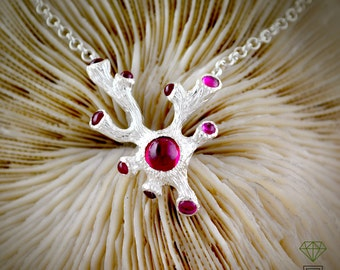 Silver  coral necklace with gemstones