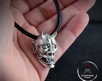 Japan demon pendant in Sterling silver and oxidised textures, Hannia, Japanese Oni Mask pendant