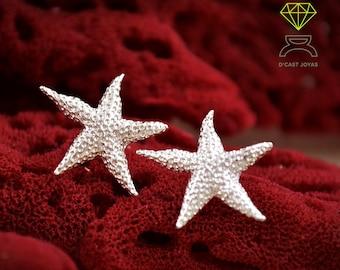 Silver starfish stud earring, Boho style studs, Ocean jewelry