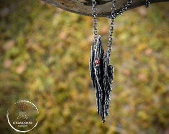 Silver primitive necklace with tree bark textures and set stone