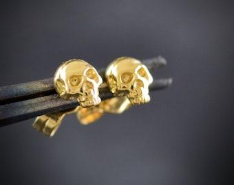 14k gold tiny skull stud, 18k gold skull earring