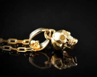Gold tiny skull pendant , 14k and 18k gold charm with natural stones