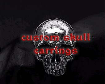 Personalized skull earrings, Reserved to N.,