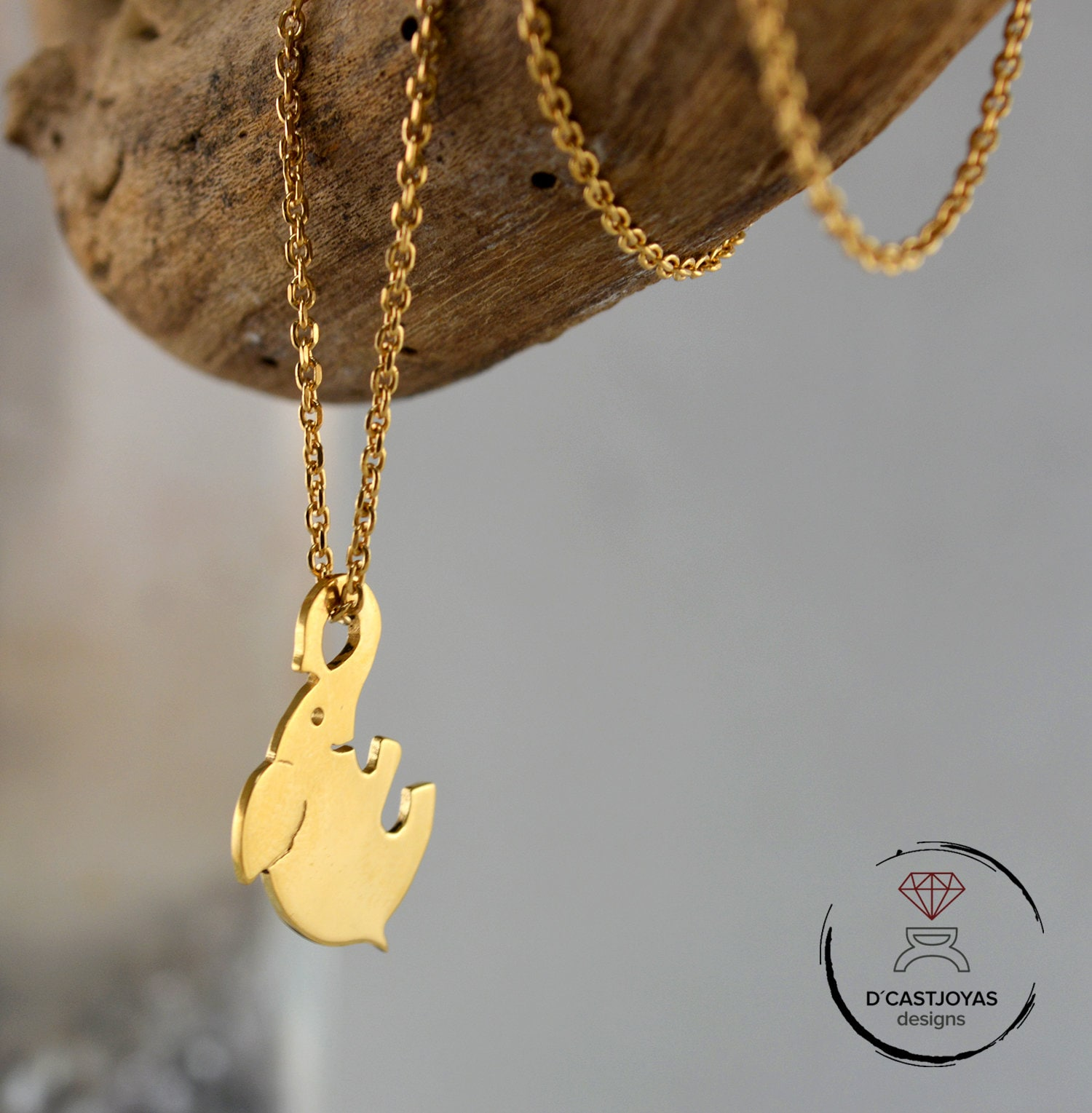 Jewels Obsession Wolf Necklace 14K Rose Gold-plated 925 Silver Wolf Pendant with 16 Necklace