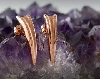 Silver wolf fang earring rose gold plated, Gold plated claw earring