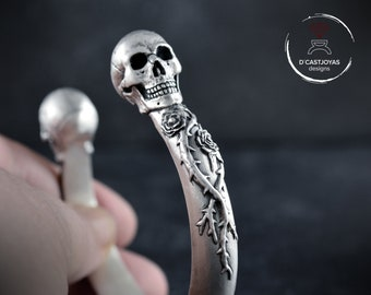 Solid silver skull bracelet with roses and thorns , Memento mori bangle