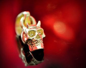 Ready to ship, 14k Gold tiny skull demon charm, 18k gold devil skull,  Unique gift for Halloween