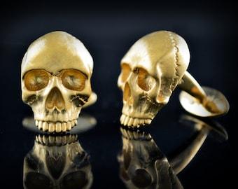 Solid 14k gold Skull cufflinks, 18k gold cufflinks with natural stones