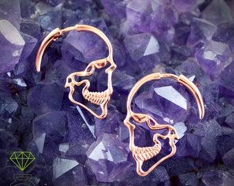 Profile skull hoop earrings in rose gold plated silver