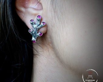 Silver earrings with stones, Coral bride earrings,  Bohemian bride earrings,  Ocean Jewelry, Handmade earrings