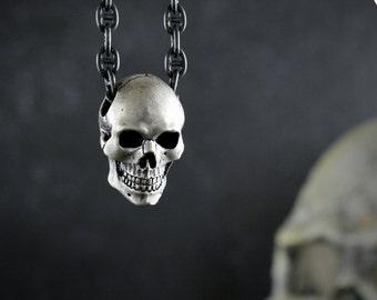 Human skull pendant for men and women with oxidized textures, Memento mori pendant