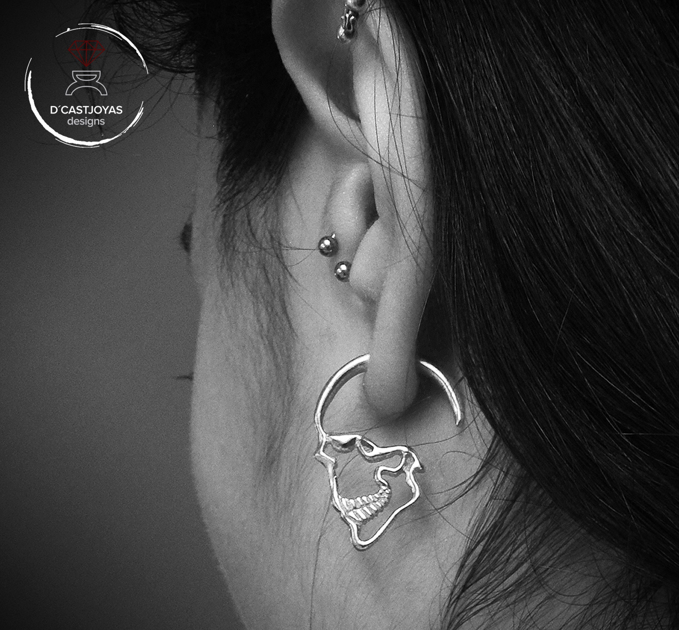 87779fc2fa815 Silver Skull Earrings, Hoop earrings men, Silver earrings profile ...