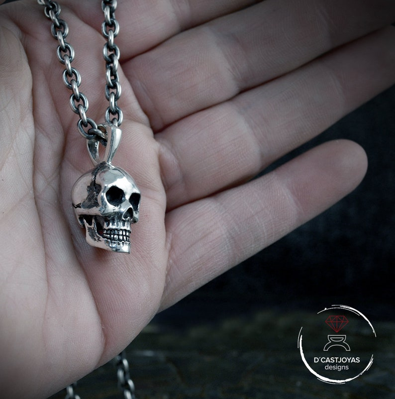 Sterling silver skull pendant for men Solid Silver big skull  35ce7c13a1ff