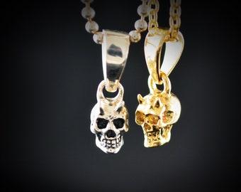Silver tiny skull charm , Skull pendant with natural stones
