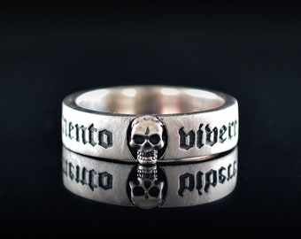 Narrow band ring Memento Vivere with skull handmade in Sterling silver
