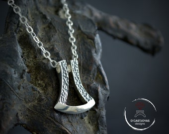 Silver modern Thor Ax pendant with hammered textures