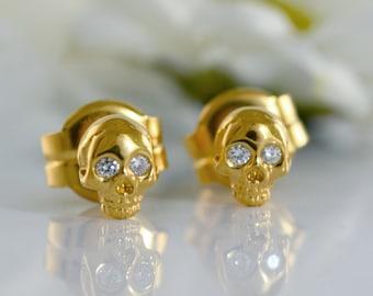 Diamonds 14k gold tiny skull stud , 18k gold skull earring with natural stones