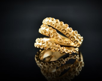Solid gold octopus ring, 14k and 18k gold tentacles ring