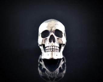 Ready to Ship, Silver Full Skull Pendant, Sterling Silver Handmade Human Skull, Memento Mori Pendant, Cool Gift for Him or Her