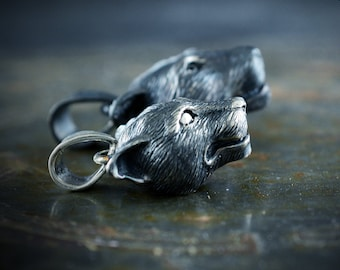 Silver small panther pendant, Feline charm for woman and men, Viking pendant