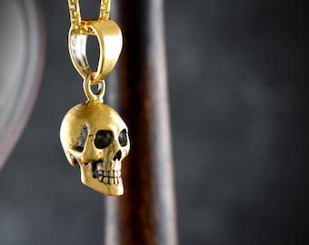 Full skull pendant handmade in solid 14k and 18k gold