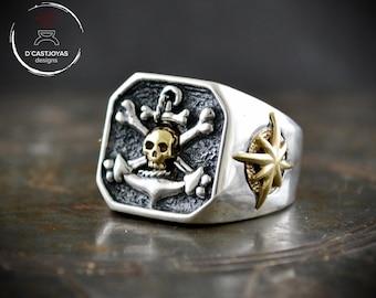 Custom silver signet ring for men, Square signet ring