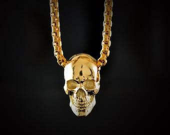 Ready to ship, 14k gold full skull pendant, 18k gold human key, Memento Mori pendant, Great gift for him or her