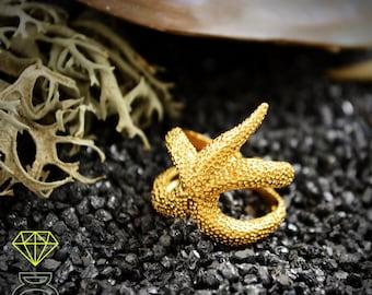 14k and 18k gold starfish ring, Beach wedding ring