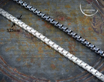 Solid Sterling Silver Square Rolo Chain, Thick silver chain, Oxidised silver chain