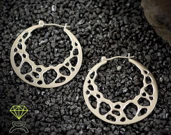 Silver organic hoop earrings, Silver bones earrings, Black silver jewelry