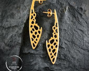 Silver long earrings bones wings