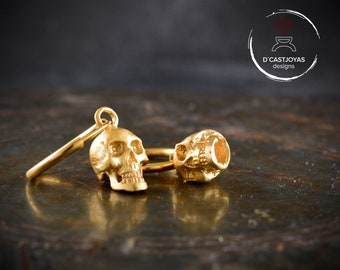 Skull hoop earrings in Sterling silver and gold plated, Hoop for men and woman
