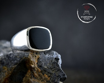 Solid Silver signet ring with onyx, Square signet ring