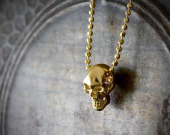 14k or 18k gold small skull pendant, Smiley skull necklace