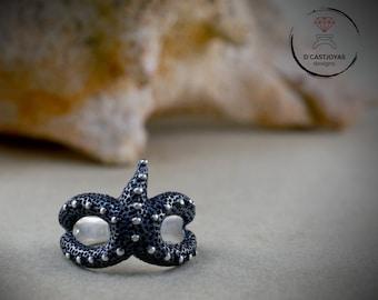 Silver Starfish envelope Ring, Adjustable silver ring,  Boho ring