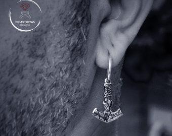 Silver Viking earring for men, Mjolnir earring, Hammer Thor