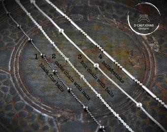Ball silver chain, Oxidised ball silver chain, Silver chain for her