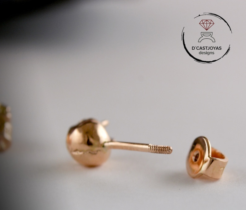 screw back earring Thread clasp supplement for tiny skull earrings in 14k and 18k gold