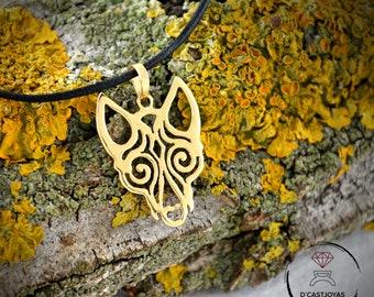 18k  and 14k Gold Viking Wolf pendant, Totem Wolf