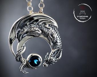 Silver Dragon Pendant with natural stone, Silver Half Moon Dragon necklace