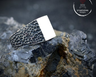 Signet silver ring with hammered textures oxidised and glossy finish, Rustic ring