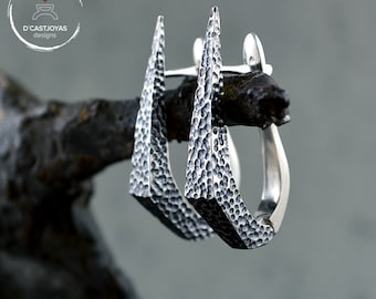 Silver dagger earrings,  Punk  hoop earrings